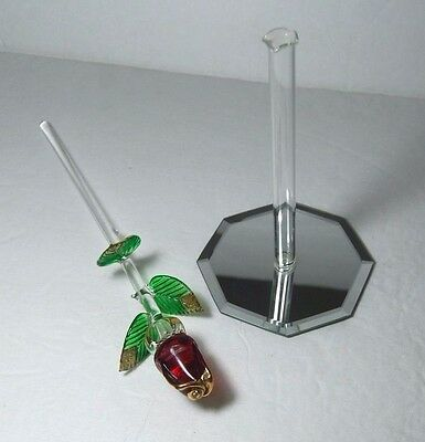 Single Red Rose Bud Blown Glass Vase w/Hex Mirror Base by Flamework Glass Hawaii
