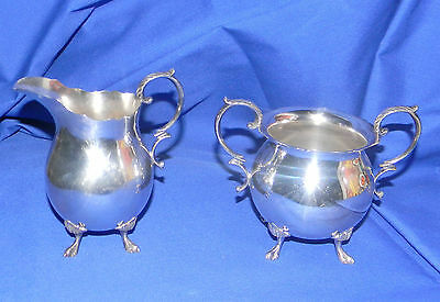 VINTAGE Sterling Durham Claw Foot Ornate HEAVY Creamer & Sugar Bowl 309 Grams!