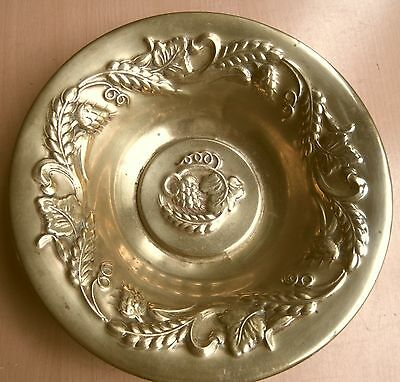 Arts & Crafts Movement Brass Bowl Decorated With Hops And Barley