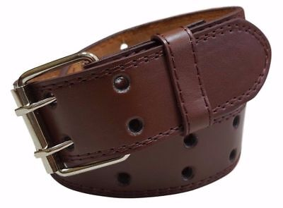 Men's Women's Genuine Leather Two Prong Double Row Holes Casual Plain Brown Belt