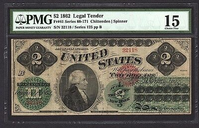 1862 $2 Legal Tender PMG 15 Ch Fine Two Dollar Currency Bank Note Fr#41 RARE