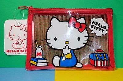**USA Seller** Hello Kitty Red Mesh Zipper Pouch / Pencil Bag