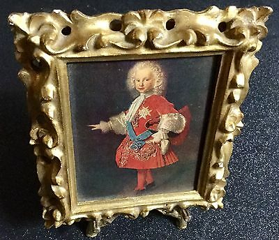 """Portrait of Child  In a 4""""x4.75"""" Goldtone Frame On Stand Florence, Italy"""
