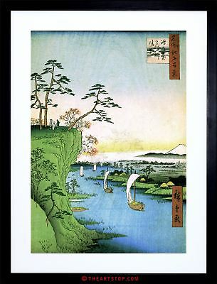 Painting Japanese Woodblock Boats River Cliff Top Framed Print F97X4818