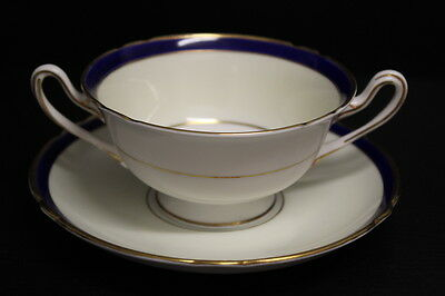 Vintage Shelley China England Cobalt Blue & Gold #12750 Soup Cup & Saucer Set