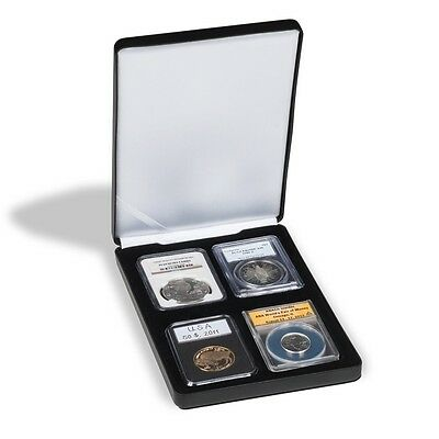 Black Leatherette Coin Box For 4 Graded Slabs PCGS NGC ICG Everslab Gift Case