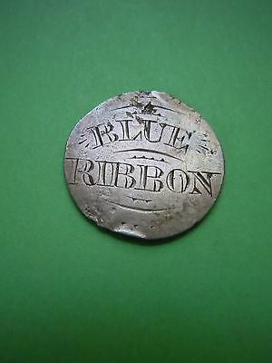 """Silver Dime Sized Coin Love Token Engraved """"blue Ribbon"""" & Initials Charm Estate"""