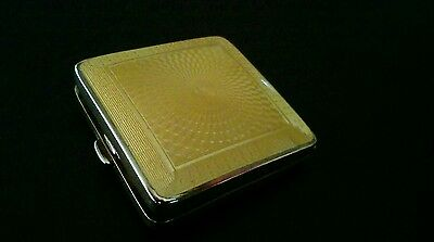 Art deco guilloche enamel and solid silver compact