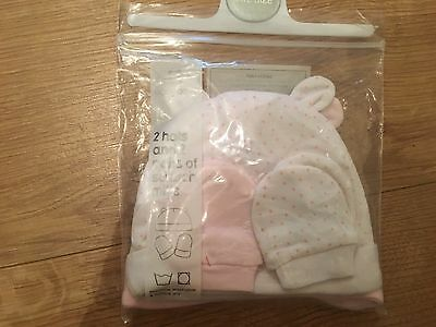 Baby Girl Hats/Scratch Mitts Set Newborn NWT