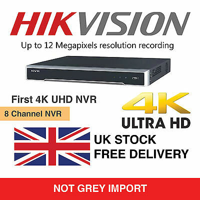 Hikvision 8 Channel Ultra HD 4K UHD Network NVR 12MP 8 PoE 8CH CCTV Recorder NEW