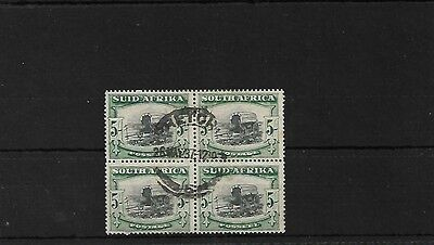 South Africa Sg64Aw X 2, 5/- Wmk Inverted Good Used Block, Cat £300