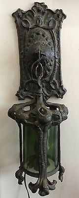 Superb Patinated Bronze Art Nouveau Hanging Wall Light, c 1890