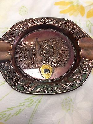 Souvenir copper ashtray from thunder beast park Oregon 1962 to 1995