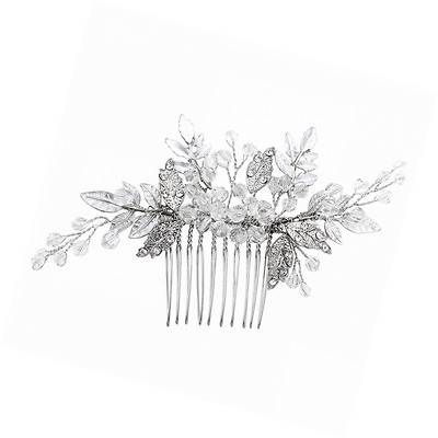FAYBOX Bridal Handmade Silver Tone Crystal Leaf Style Hair Side Comb Party Anniv