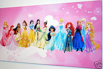 """Disney Princesses Wall Art Canvas  Picture  Large 18"""" X 32""""  Ready To Hang"""