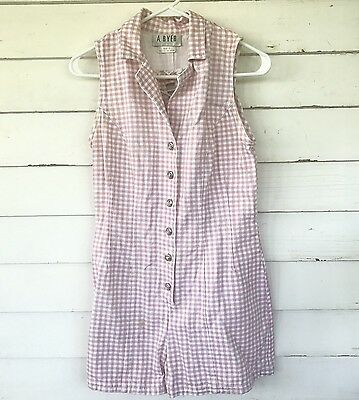 A. Byer Vintage 90s Checkered Pink Timber Romper Collared Sz 6/7 Tank Lace Back