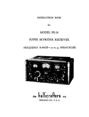"Hallicrafters SX-28 Receiver Owner's Manual With 11x17"" Schematic"