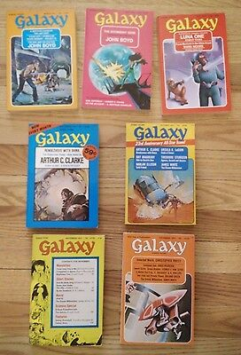 Lot of 7 Galaxy Science Fiction Magazines from 1973 (Mar, May, July, Sept-Dec)