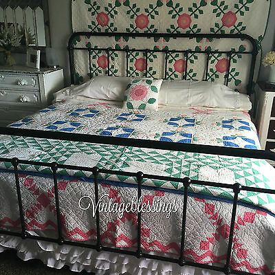 Gorgeous! Antique c1930 Green & White Ocean Waves QUILT 80x71""