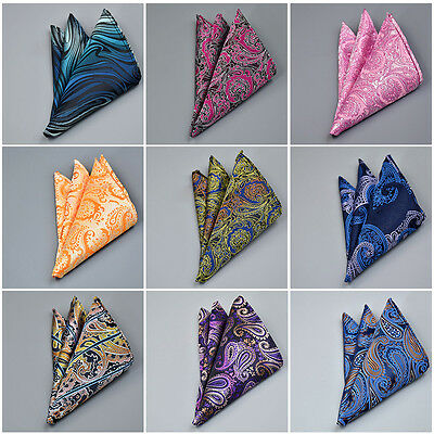 Men Pocket Square Paisley Floral Hankie Hankerchief Wedding Party Formal Suit