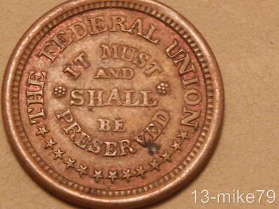 Army & Navy/Shall be Preserved Civil War Token. 221/324a XF R-1
