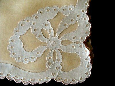 PRISTINE 17pc Vintage MADEIRA Linen Organdy Placemats UNUSED Hand Embroidered