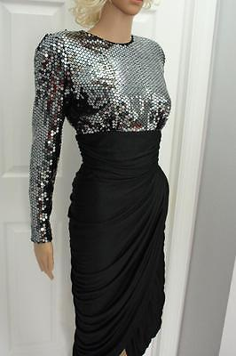 Vintage 80s Tadashi Sequin and Ruched Clingy Dress Deep V Back