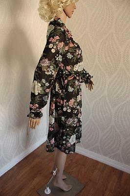 Vintage 70s Sheer Floral Black Dress Ruffle Collar and Cuffs Tie Waist