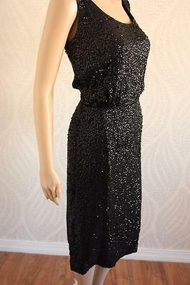 Vintage 50s 60s Black Sequin Silk Dress Hong Kong Royal Lynne
