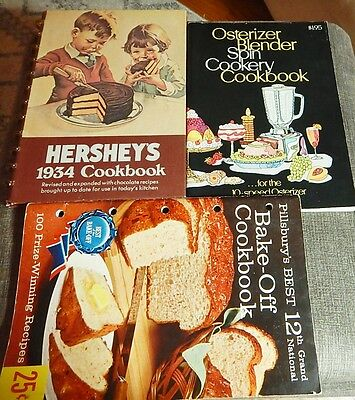 Lot of 3 Vintage Cookbooks Hershey's Osterizer Blender Pillsbury 12th Bake Off