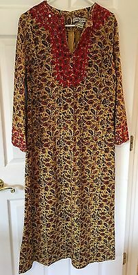 I.Magnin vintage 100% cotton maxi dress with crochet trim with 1970's look