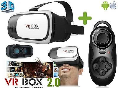 New 2.0 3D VR Box Virtual Reality Headset Glasses + Remote for Android & iPhone