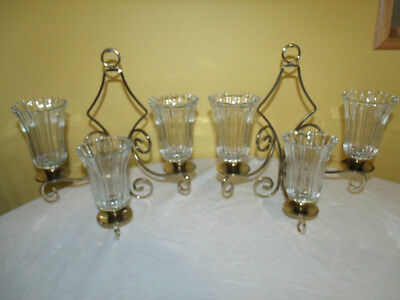 Set of 2 Home Interiors HOMCO Brass Colored Wall Sconces w/Votive Cups