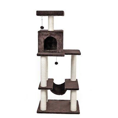 142CM Pet Cat Tree Scratcher Post Furniture Tower Kitten Sisal Pole Multi Levels