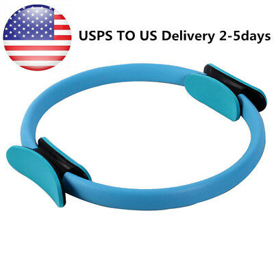 Blue 15 inch Pilates Ring Dual Fitness Exerciser Yoga Circle Body Build Trainer