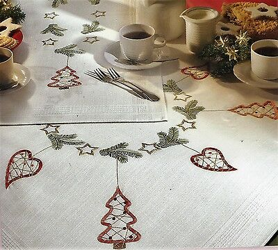 "Modern ""Scandi"" Santa tablecloth KIT to embroider. Hand Stamped 100% cotton  ."