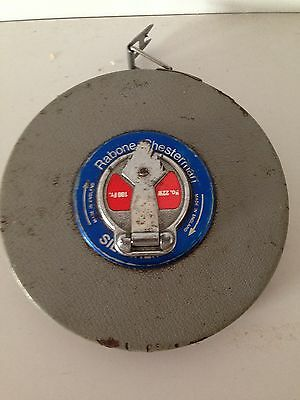 Rabone Chesterman steelTape Measure No22W 100ft Vintage Made in England