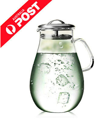 1800ml Large Heat Resistant Water Carafe with Stainless Steel Lid Free Shipping