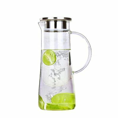 1.5 L / 52 Oz Glass Water Pitcher with Stainless Steel Strainer Lid Hand Made AU