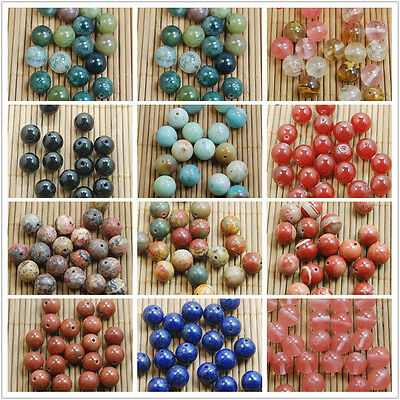 4/6/8/10MM Wholesale Natural Gemstone Round Smooth Spacer Loose Beads Charms DIY
