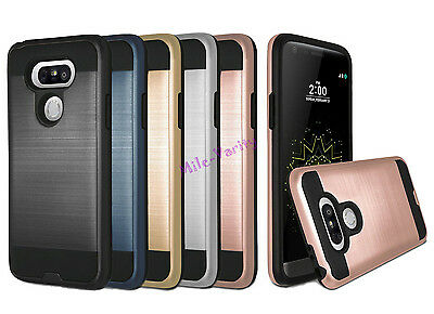 Brushed Metal Texture Hybrid Armor Slim Phone Protector Cover Case for LG Phone