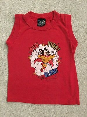 Vintage 70s MIGHTY MOUSE Red Graphic Sleeveless T Shirt Tank Top Tee Sz 4T