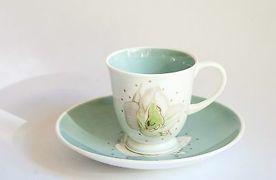 Susie Cooper Magnolia Blue/Green Demitasse Coffee Cup and Saucer Duo (s)