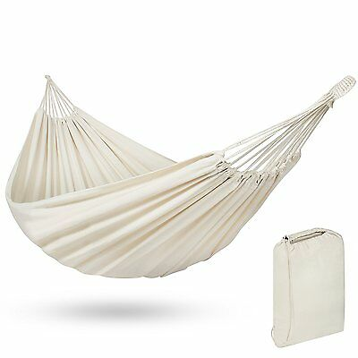 Best Choice Products Portable Cotton Brazilian Double Hammock Bed 2 Person White