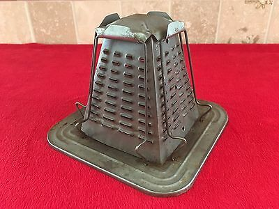 Vintage Tin Metal Pyramid 4 Slice Toaster For Woodstove Cook Stove Camp Fire