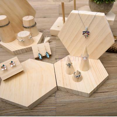 Magideal Wooden Jewelry Display Stand Holder Organizer Ring Showcase Cone Shape