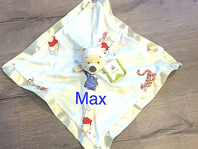 Personalised Winnie the Pooh Security Blanket - Satin Edge - Embroidered
