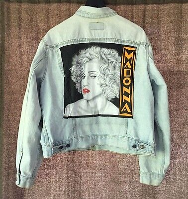 Vintage Levi Strauss Denim Jean Jacket with Madonna on Back Men's Med/Large