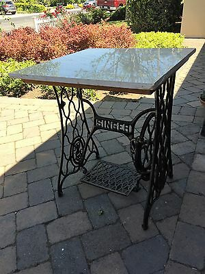 Antique Singer Treadle Sewing Machine Cast Iron Frame Table Base with Marble Top