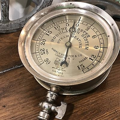 ^RARE^ Star Brass Webster Steam Heating Pressure Gauge Industrial Antique 6""
